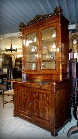 Biedermeier style mahagony secretary desk with matching chair in Stuttgart, GE
