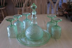 Green Tiara Sandwich Glass Decanter and 5 Cordials in Lockport, Illinois