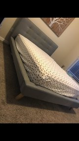 """upholstered full size bed frame and """"new"""" eurotop mattress in Columbus, Ohio"""
