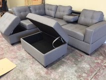 "BRAND NEW! QUALITY URBAN LINEN GREY SOFA ""STORAGE"" SECTIONAL W/XL OTTO in Camp Pendleton, California"