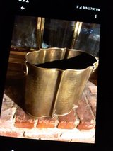 Large Brass Scalloped Edge Bucket with Decorative Handles in Indianapolis, Indiana