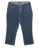 Jazzie Button Fly STUDDED Denim Jean Capris Womens Medium Measures 29 = 8 in Plainfield, Illinois