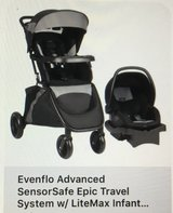 Evenflo Stroller with 2 bases & car Sensor in Joliet, Illinois