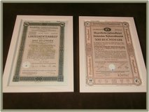 2 old german stock papers , framed in Ramstein, Germany