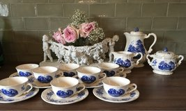 antique coffee set Sarreguemines Frances blue white in Ramstein, Germany
