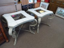 PAIR OF METAL TABLES WITH TILE & GLASS in Cherry Point, North Carolina