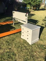 bedroom set  2 piece full bed  @ nightstand. Neutral perfect shape in Morris, Illinois