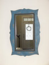 """Accent Mirror -  Blue """"Distressed"""" Metal - 22 in.long x 15 In. wide - Like New - Pretty in Beaufort, South Carolina"""
