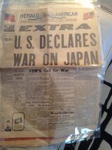 US Declares War on Japan dec. 8 1941 in Bolingbrook, Illinois