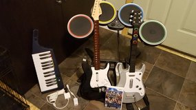 Rock Band 3  game and 2 guitars plus Keyboard and Drums and mic in Westmont, Illinois