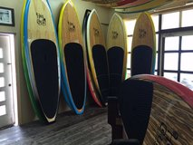 Hot curl bamboo SUP surf boards in Okinawa, Japan