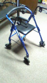 Featherlight Four Wheel Walker with Loop Hand Brakes in Blue in Batavia, Illinois