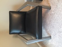 Glass coffee table with 4 black leather chairs in Tinley Park, Illinois