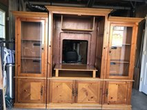 Enertainment Ctr/curios solid oak, holds tv up to 32in in Clarksville, Tennessee
