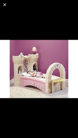 Toddler princess castle bed converts to twin pending pick up in Joliet, Illinois