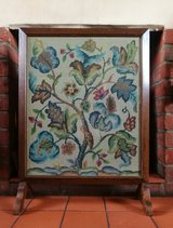 Antique Embroidered Glass Fronted Firescreen in Lakenheath, UK