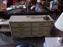 Vintage Six Drawer Victorian Style White and Gold Dresser in Fort Riley, Kansas