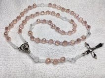 Rosary Pale Pink Crystal All Czech Beads Italian Silver Medal and Crucifix Bride Quincineara in Kingwood, Texas