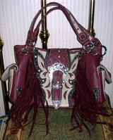 WESTERN FRINGE PURSE COWGIRL TRENDY BUTTERFLY LOOK RED/MAROON & Beige in Ruidoso, New Mexico