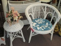 Cute White Wicker Chair And Wicker Table With 2 Sided  Cushion in Camp Lejeune, North Carolina