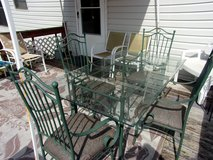 In House or Patio Glass Top Table and Four Sturdy Chairs in Warner Robins, Georgia