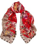 Roberto Cavalli Red Printed Silk Scarf/Wrap Retail $398 in Ramstein, Germany