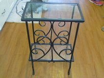 2 Black Iron Tables W/Glass in Orland Park, Illinois