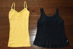 2 Lace Tank Tops Size XS Yellow Aeropostale and Navy Blue Hollister in Manhattan, Kansas