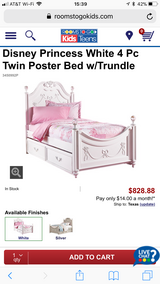 Disney princess bed - Twin (mattress and box spring included) in Converse, Texas