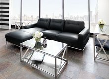 "NEW! UPSCALE DESIGNER ""COSMOPOLITAN"" LEATHER BLK SOFA CHAISE SECTIONAL in Camp Pendleton, California"