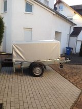 HUMBAUR Car Trailer with Cover, Stands, Hitch Lock in Ramstein, Germany