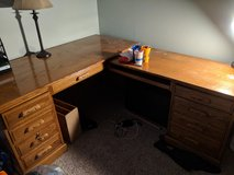 Large L-shaped desk and bookshelf in Chicago, Illinois