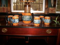 Vintage Pitcher with 6 Mugs - 7 piece set - Made in Japan - Marked 5PTS     #595 in Cherry Point, North Carolina