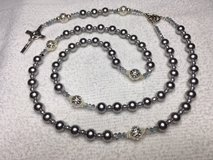 Rosary Silver Pearls made from Crushed Shells Italian Silver Middle Medal and Crucifix Special S... in Kingwood, Texas