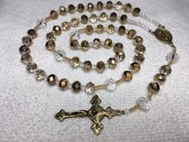 This rosary is spectacular! Even shines in the dark it has so much sparkle. It is fire polished ... in Kingwood, Texas