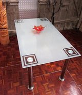 6-8 Person Glass Diningroom Table with Chrome Legs in Ramstein, Germany