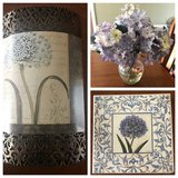 Metal floral picture, 13x13 Wood picture & lilac floral vase in Warner Robins, Georgia