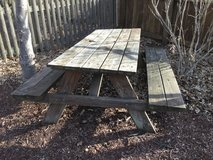 Weathered picnic table in Lockport, Illinois