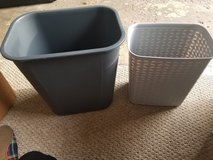 two small grey garbage cans in Lockport, Illinois