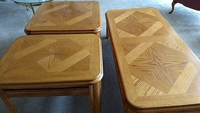 3 solid oak tables in New Lenox, Illinois