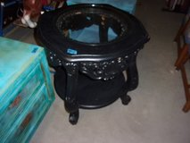 Black End Table With Glass Top in Fort Riley, Kansas