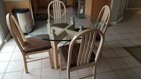 4' Round Glass Top Kitchen Table with 4 Chairs in Lockport, Illinois