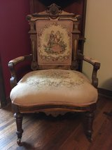 Pink tapestry antique chair in Elgin, Illinois