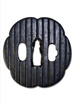 "Edo Period Iron Tsuba with ""Manji"" Kamon ( amily crest in gold and silver accents) 2 days left in Okinawa, Japan"