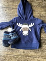 Sweatshirt and Boots NWT 6 months in Fort Campbell, Kentucky
