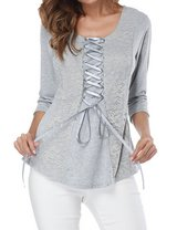Women 3/4 Sleeve Round Neck Solid Color Cross Straps With Lace Inserts Top in Fort Campbell, Kentucky