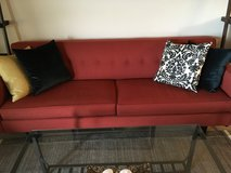 """Room & Board MCM Andre sofa Dilcrest Red/Orange 89"""" long in Schaumburg, Illinois"""