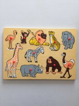 10 Piece Zoo Animal Wooden Puzzle Monkey Elephant Elephant Lion in Manhattan, Kansas