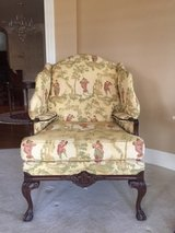2 Oriental Fabric Yellow Wingback Chairs in Tinley Park, Illinois