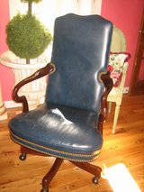 HANDSOME navy leather hancock & moore office rolling desk chair in Plainfield, Illinois